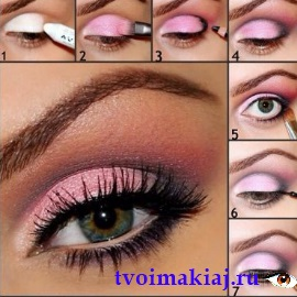 розовый макияж пошагово