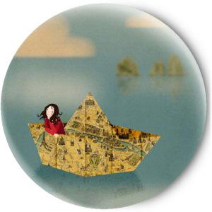 Одностороннее зеркальце Бумажный кораблик